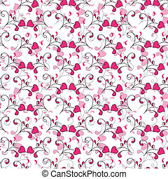 seamless background with Hearts and swirls