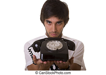 Time to comunicate - young men giving you the telephone...