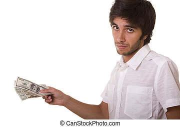 man giving dollars - young man giving dollars isolated on...
