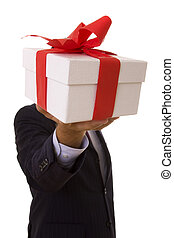 Businessman offer - a businessman offering a gift to you...