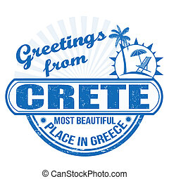 Greetings from Crete stamp - Grunge rubber stamp with text...