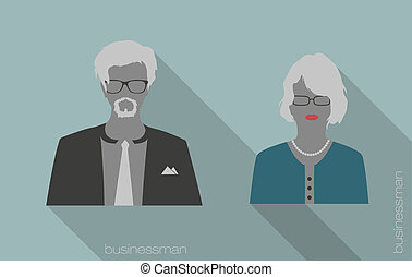 woman and man businessman icons