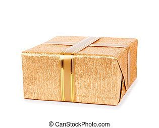 Beautiful Gift boxes in gold wrapping paper isolated on a...