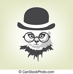 cat in the hat and glasses accessory, animal, art