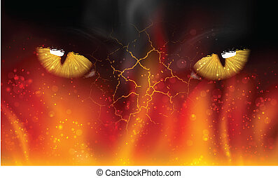 cat's eyes on fire fight, tiger, mammal aggression