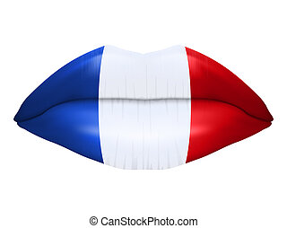 French kiss. Beautiful luscious lips with flag of France...
