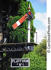 Semaphore signal and platform sign. - Semaphore signal of...