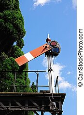 Railway semaphore signal. - Semaphore signal of the bracket...