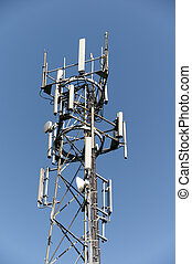 Phone mast - A phone mast against a clear blue sky
