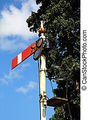 Railway Semaphore signal. - Semaphore signal showing the...
