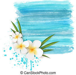Plumeria on watercolor background - Plumeria flowers on blue...