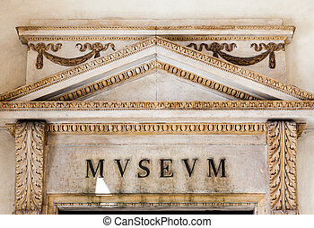 Italian Museum Entrance - Entrance of an ancient museum,...