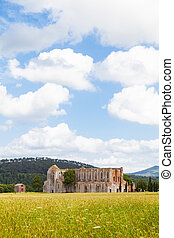 San Galgano Abbey - Italy, Tuscany region. Medieval San...