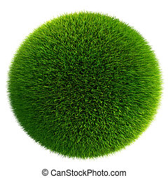 green grass ball isolated on white