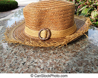 Close up of straw hats brown