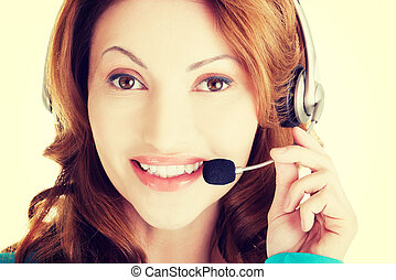 Attractive adult woman with headphones