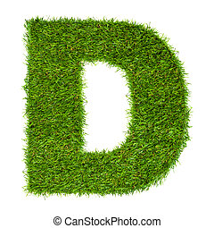 Letter D made of green grass isolated on white