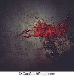 man with his head exploding, blood, concept pain, migraine