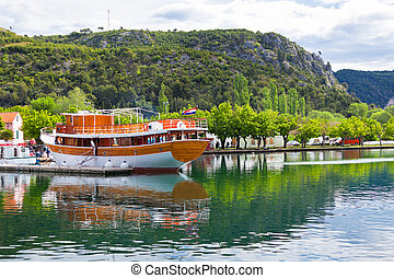 Touristic boat in Skradin, Croatia. Horizontal day shot