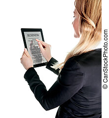 Business lady with touch pad, checking on business news,...