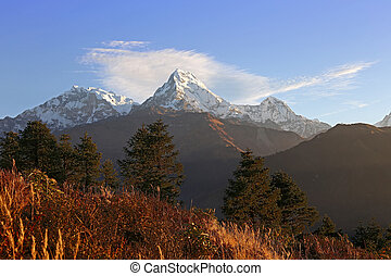 Himalayas Nepal - Sunny day in mountains Annapurna Himalaya...