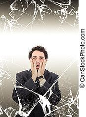 Portrait of man in despair showing misery or sorrow