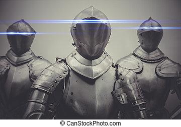 concepto, Cortafuegos, armadura, neón, luces, protección,...