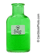 poison - A small glass bottle with toxic contents.
