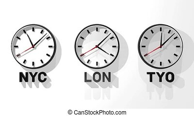 World Clock 3D render Animation Isolated on White