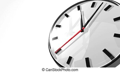 Clock With Text Space. 3D render Animation. Isolated on...