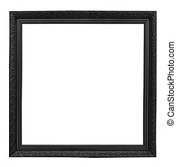p - Wood picture frame isolated on white background