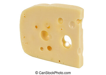Swiss or Dutch cheese with holes, isolated on a white...