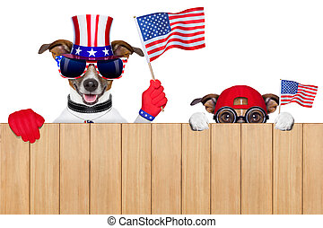 american dogs - two dogs watching 4th of july parade