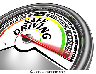 safe driving conceptual meter indicate maximum, isolated on...