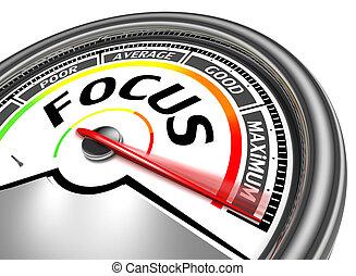 focus conceptual meter indicate maximum, isolated on white...