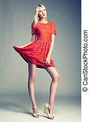 Fashion photo of young magnificent woman Girl posing Studio...