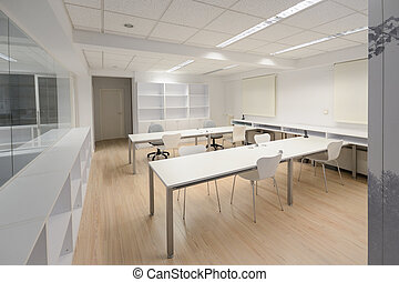 Modern office with white furniture - Empty modern office...
