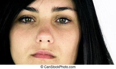 Beautiful sad young woman closeup