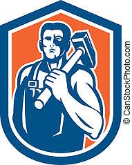Blacksmith Worker Holding Sledgehammer Shield Retro -...
