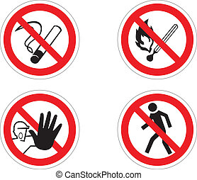 Regulatory signs - 4 regulatory signs: no smoking, no fire,...