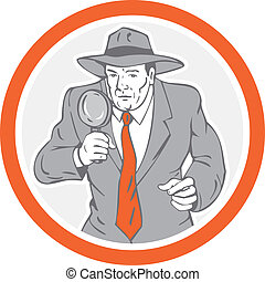 Detective Holding Magnifying Glass Circle Retro -...