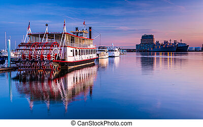 Boats in Canton at sunset, Baltimore, Maryland.