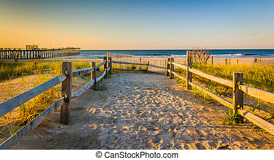 Path over sand dunes to the Atlantic Ocean at sunrise in...