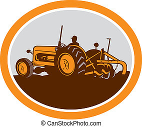 Vintage Farm Tractor Farmer Plowing Oval Retro