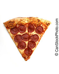 Slice of Pizza - A slice of pepperoni pizza on white...