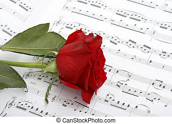 I Love Music - A rose compliments some sheet music to a...