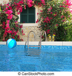 swimming pool in the garden - fictitious swimming pool in...