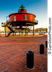 Seven Foot Knoll Lighthouse in the Inner Harbor, Baltimore,...