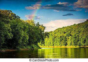 Rainbow over the Delaware River, at Delaware Water Gap National
