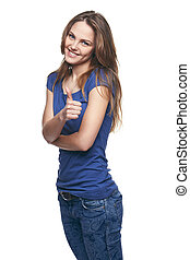 Smiling emotional girl giving you thumb up - Young cute...